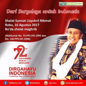 Shalat Sunnat Lisyukril Nikmat Jelang Malam 17 Agustus